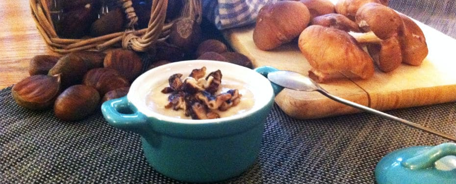 Chestnut soup with mushrooms