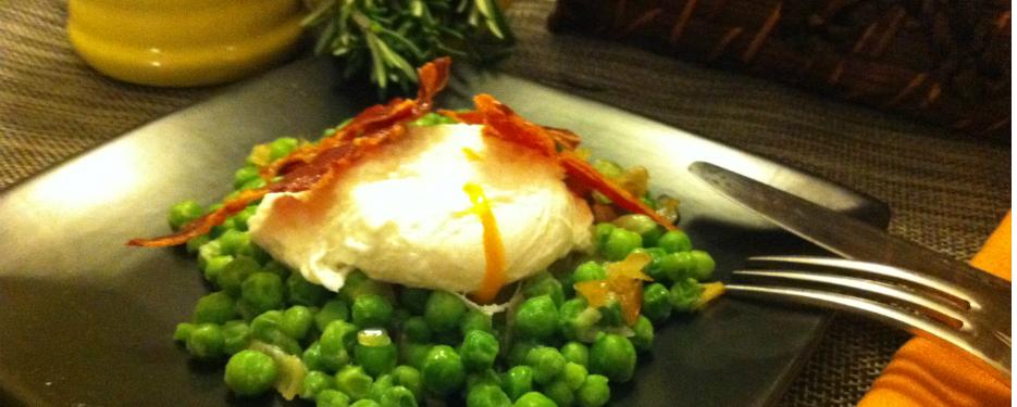 Peas, poached egg and crispy Serrano ham