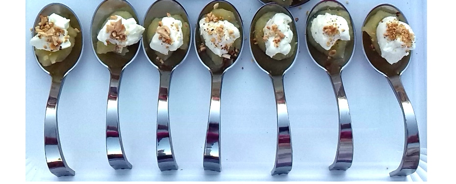 Apple, cheese and almonds in a small spoon