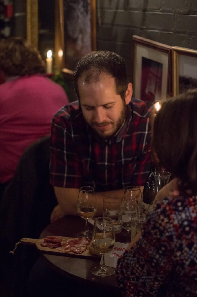 Enjoying sherry and tapas