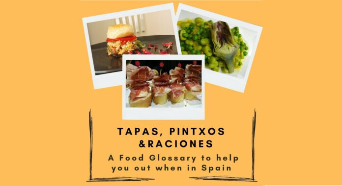 Cover for the post with 3 pictures of tapas, pintxos and raciones