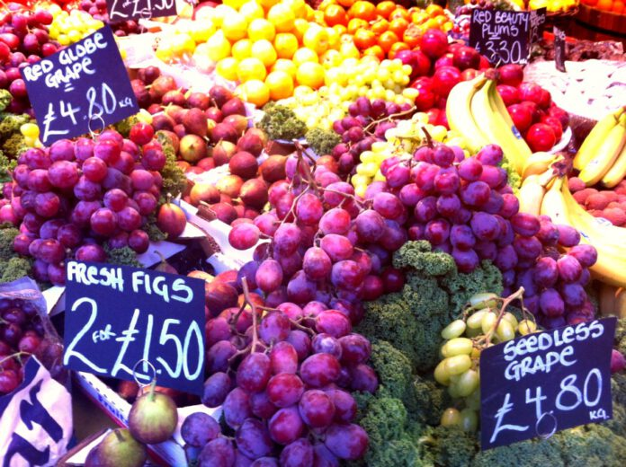 Stand with different fruits in a market